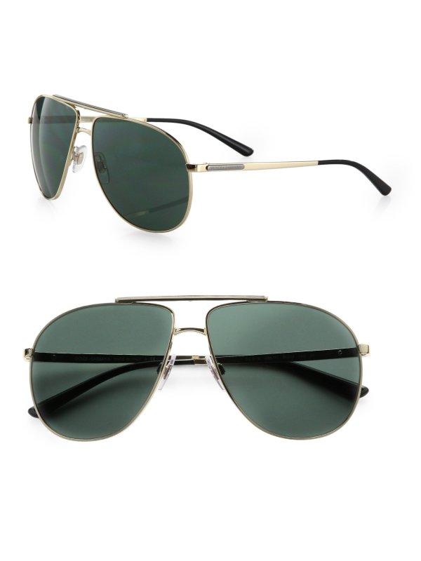 Dolce & Gabbana Metal Aviator Sunglasses In Metallic