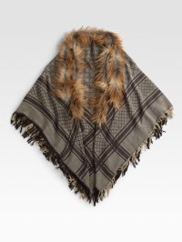 Lyst - Gucci Fox Fur-trimmed Gg Pattern Shawl in Natural