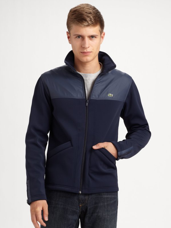 Lacoste Fleece Jacket In Blue Men Lyst