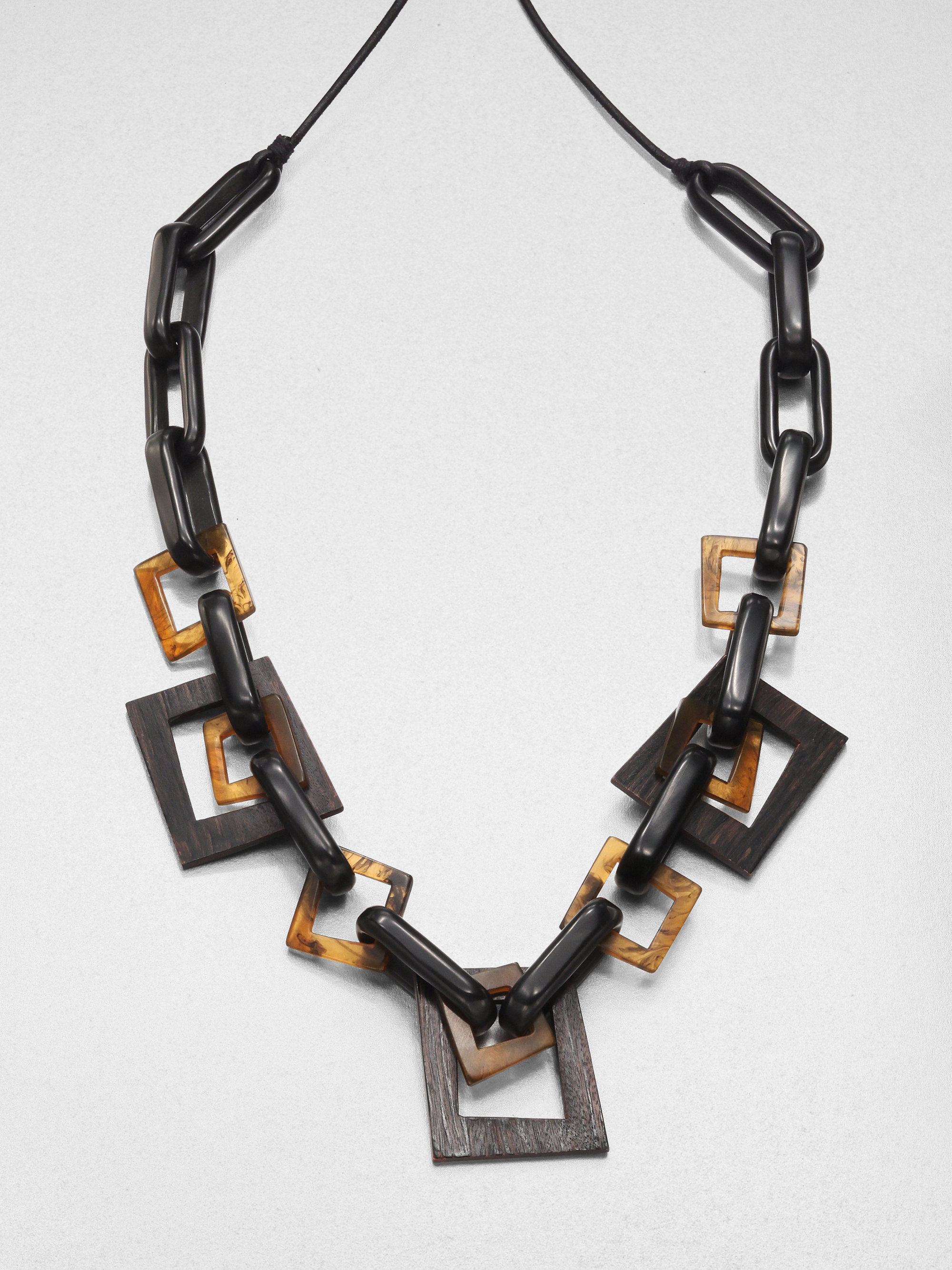 Lafayette 148 New York Wood Resin Leather Link Necklace In