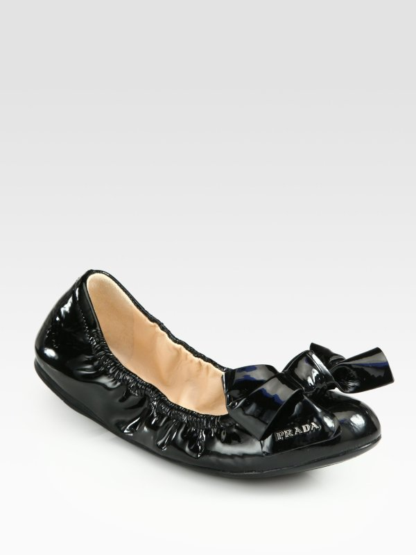Prada Patent Leather Puffer Bow Ballet Flats in Black Lyst