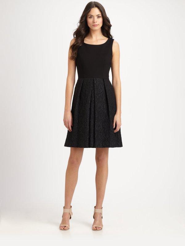 Elie Tahari Jacquard Dress In Black Lyst