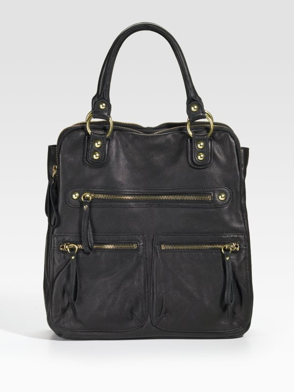 Linea Pelle Dylan Three Compartment Tote Black In Lyst