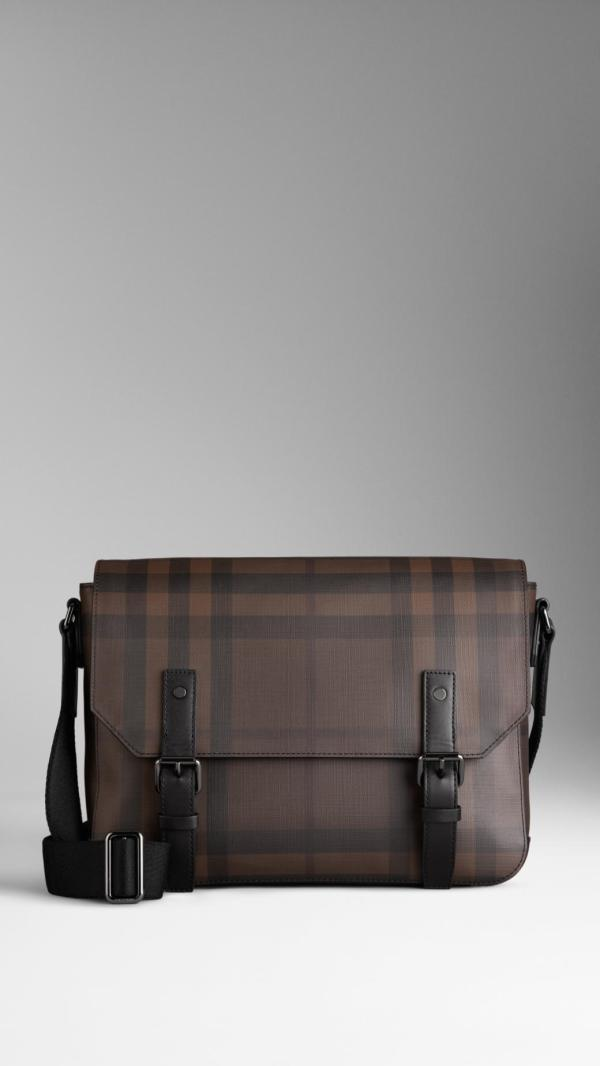 Burberry Small Smoked Check Messenger Bag In Black Men