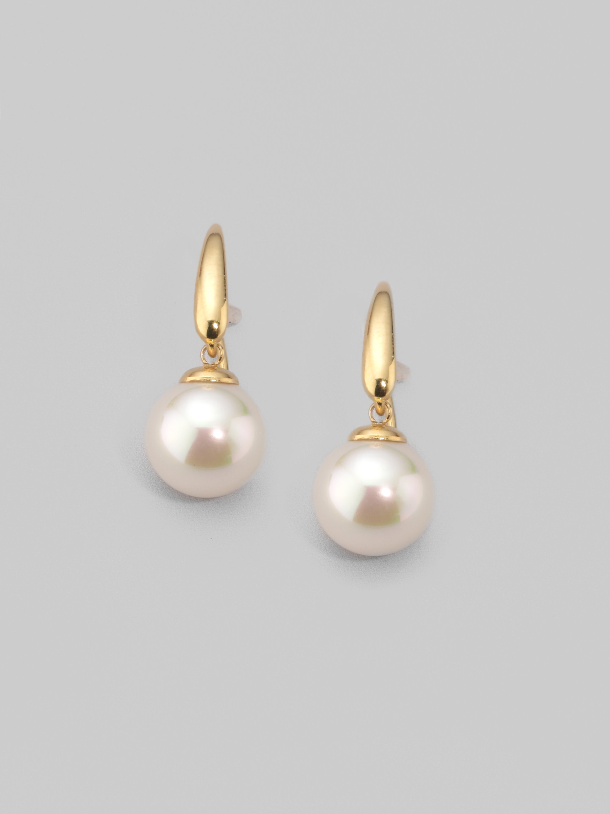 Majorica 10mm White Pearl Drop Earrings in White