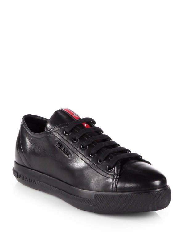Lyst - Prada Leather Laceup Sneakers In Black