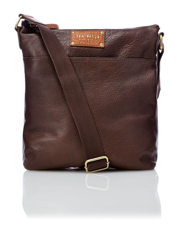 Ted Baker Leather Flight Bag In Brown Men Chocolate