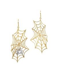 Bernard delettrez Spiderweb Bronze And Silver Earrings in ...