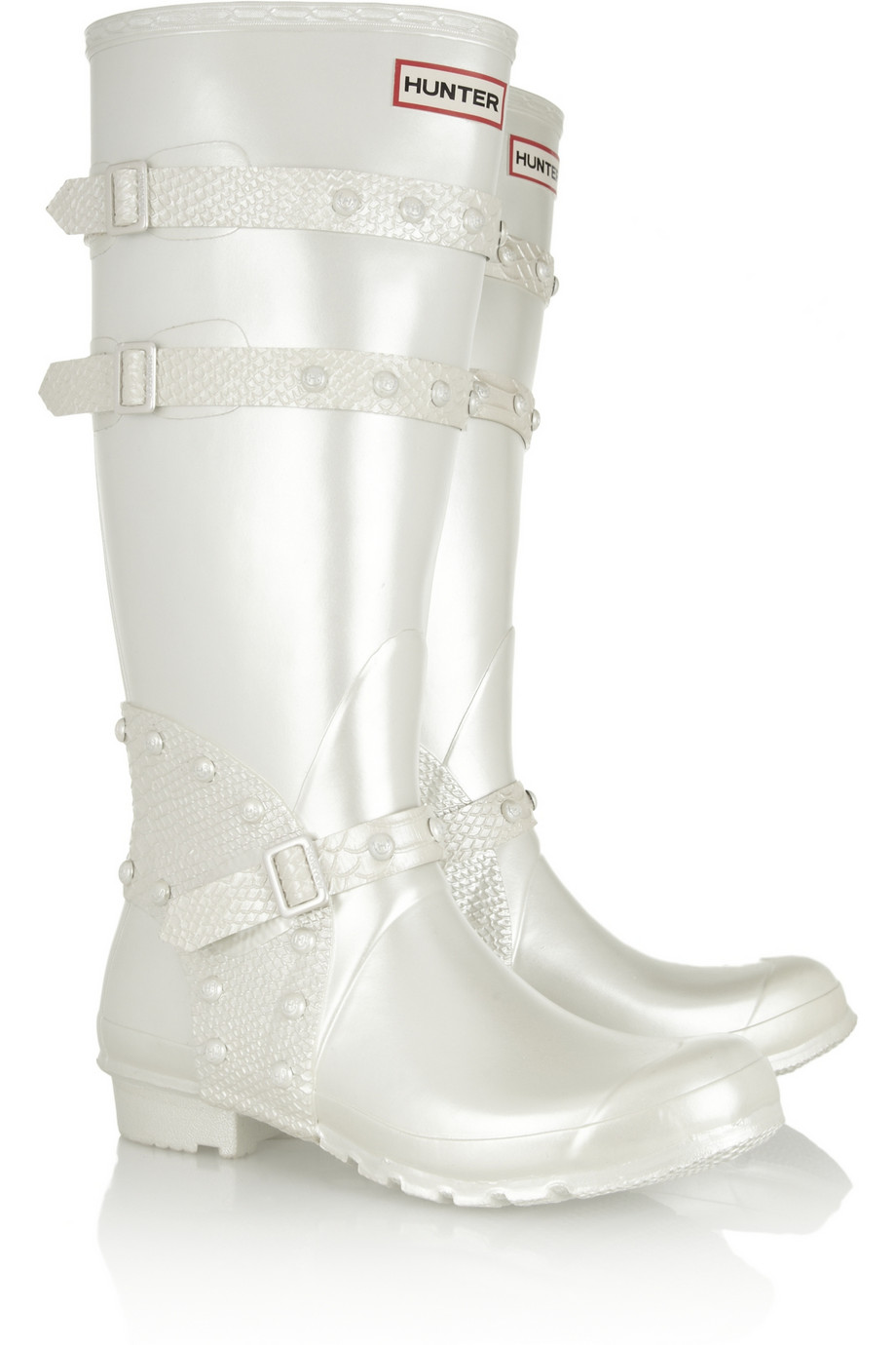 Hunter Festival Pearlescent Wellington Boots in White  Lyst