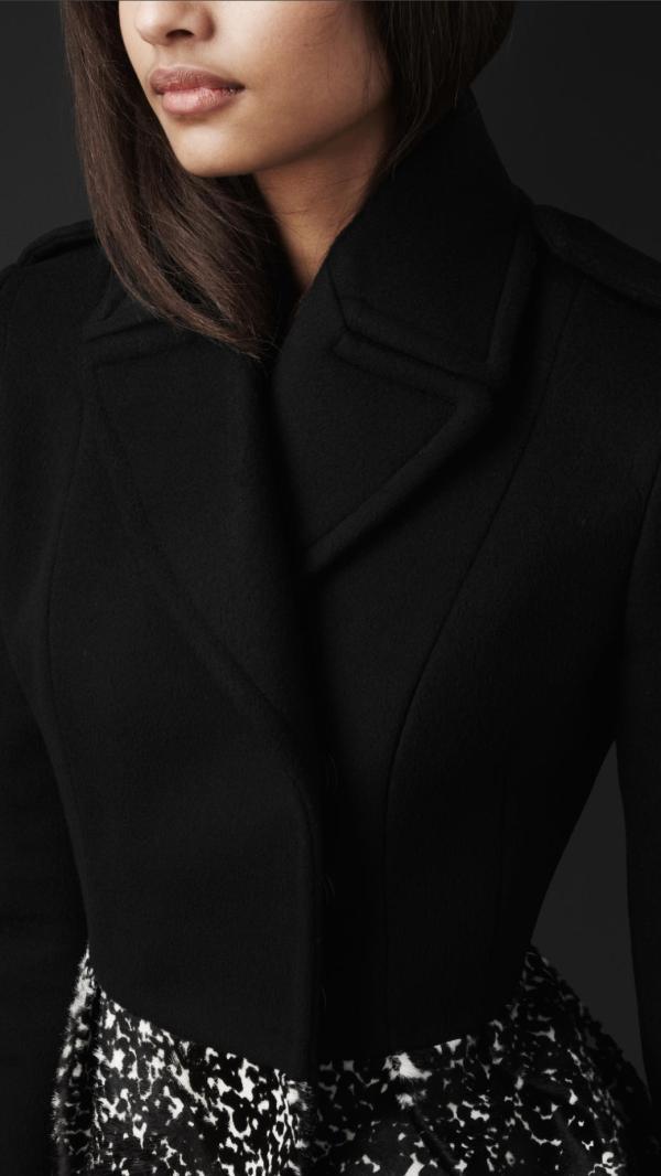 Lyst - Burberry Prorsum Animal Print Peplum Pea Coat In Black