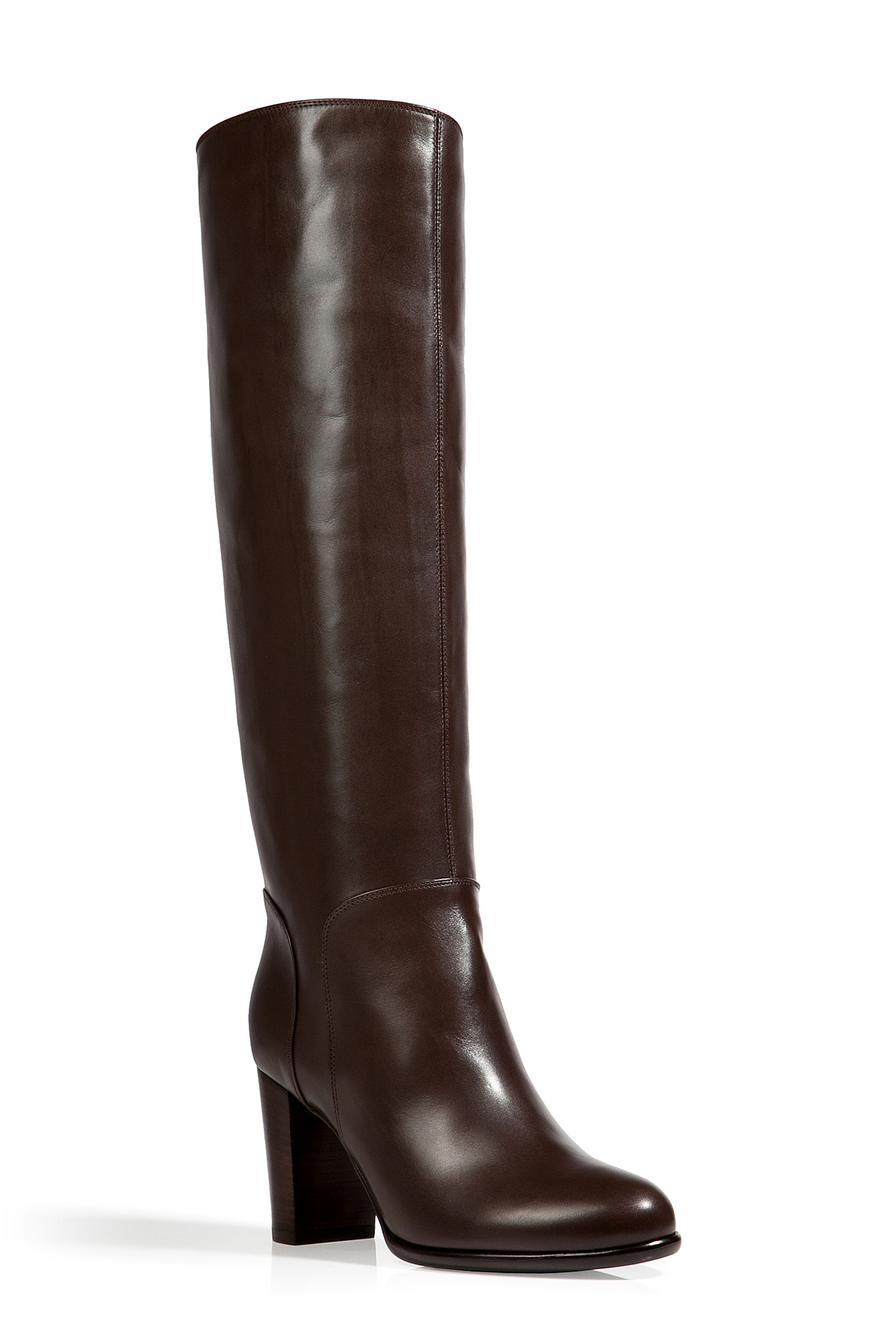 Sergio Rossi Leather Tall Boots In Ebony In Brown Ebony