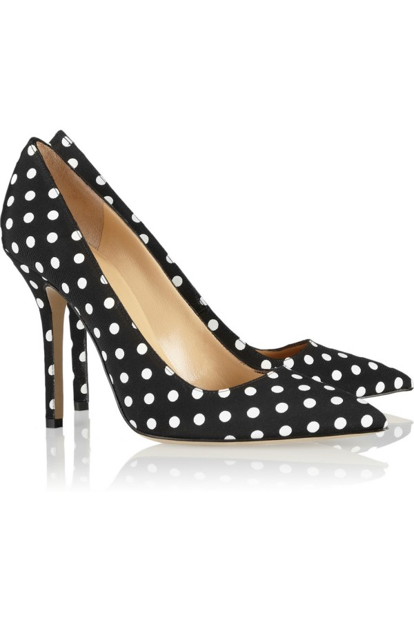 Oscar De La Renta Mimi Polka-dot Grosgrain Pumps In Black