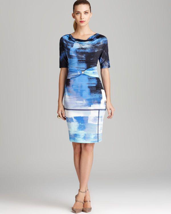 Escada Print Dress Short Sleeve Brushstroke In Blue Lyst