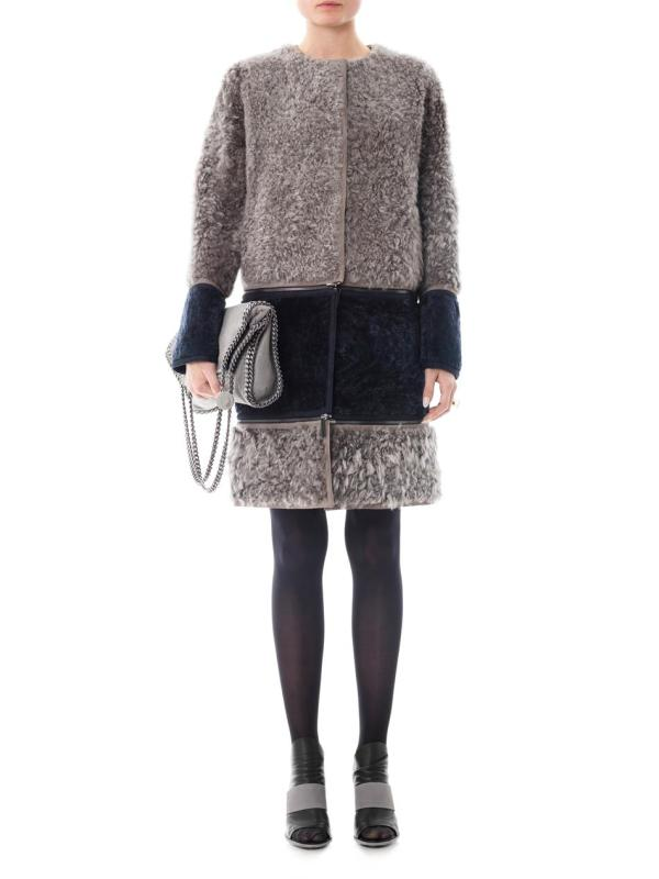 Lyst - Fendi Reversible Shearling Coat In Gray