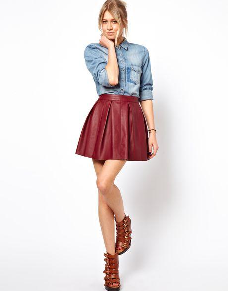 Asos Skater Skirt in Leather Look in Purple (Burgundy) - Lyst