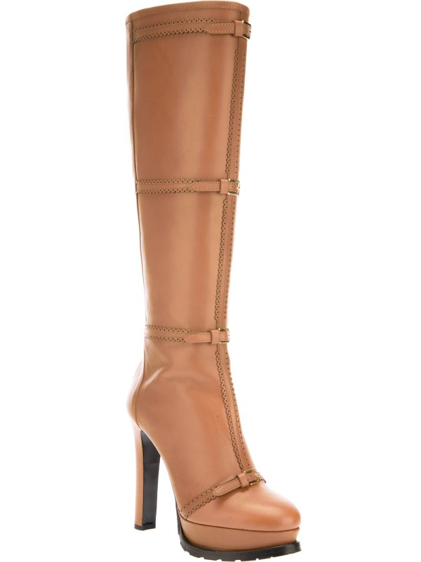Moschino Cheap & Chic Platform Knee High Boot In Brown Lyst