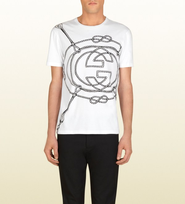 733f62459 Gucci White Cotton Tshirt With Ropes Print In Men Lyst