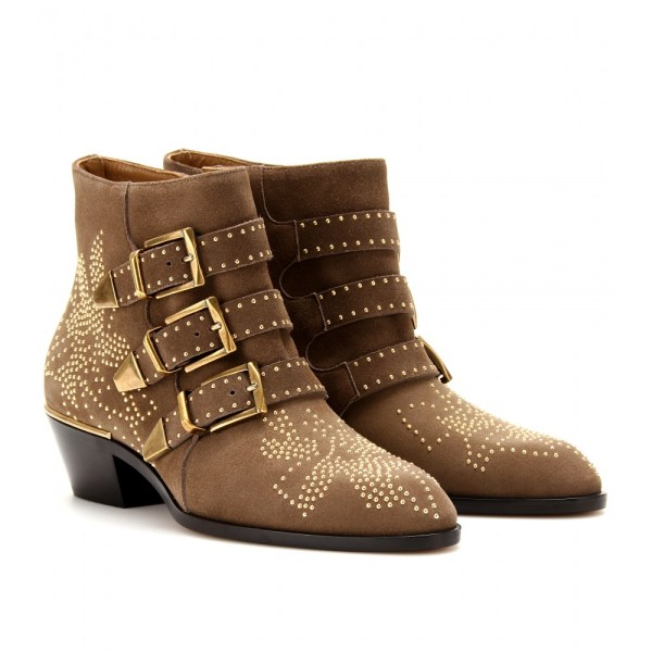 Lyst - Chlo Susanna Studded Suede Buckle Ankle Boots In Brown