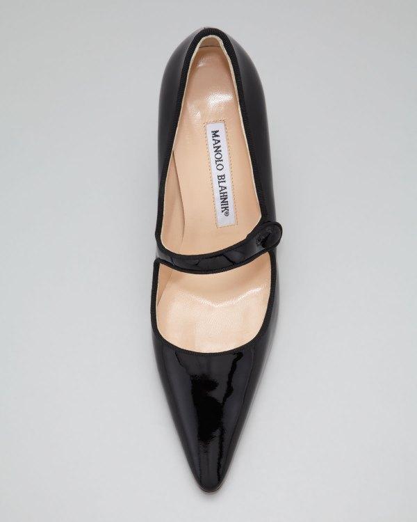 Manolo Blahnik Campari Patent Leather Mary Jane In Black