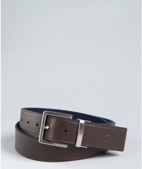 Belt Lacoste Reversible Black Brown Leather