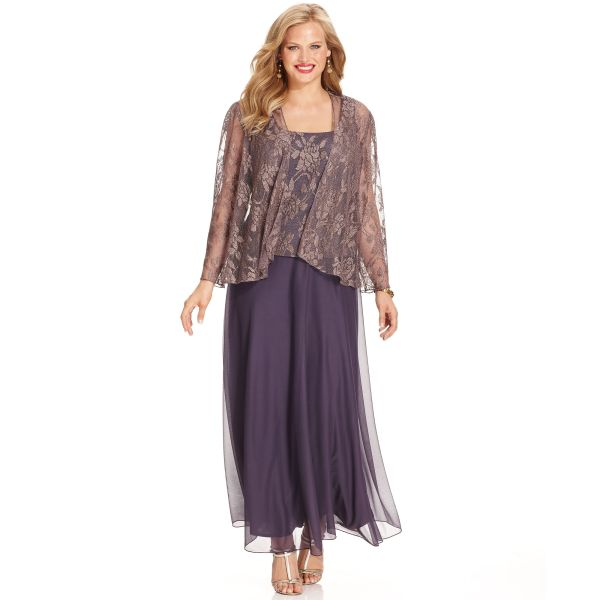 Patra Metallic Lace Dress And Jacket In Purple Lyst