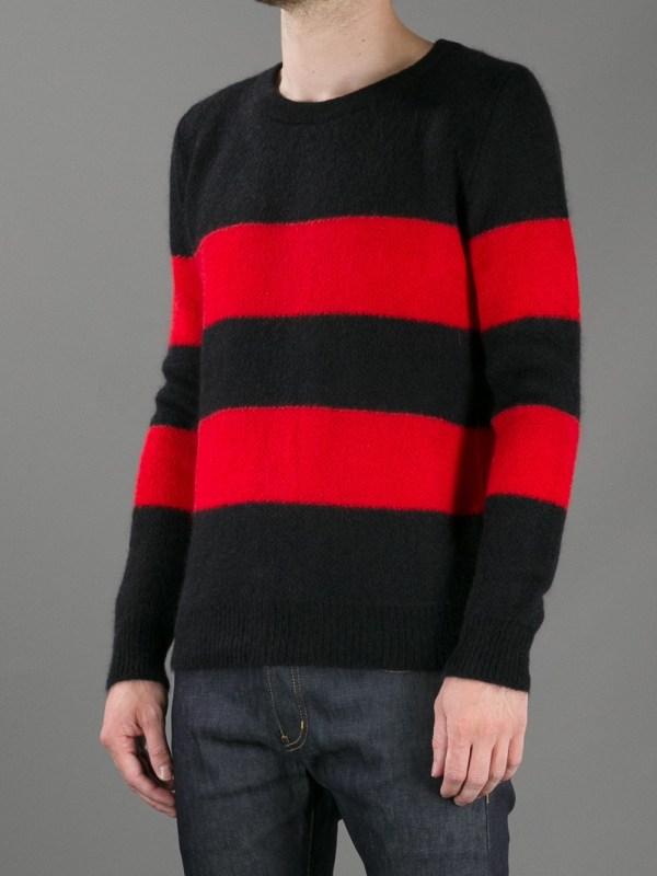 Saint Laurent Striped Sweater In Red Men Lyst