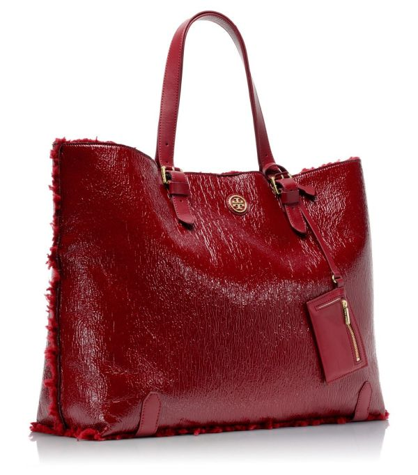 Tory Burch Patent Shearling Tote In Red Lyst
