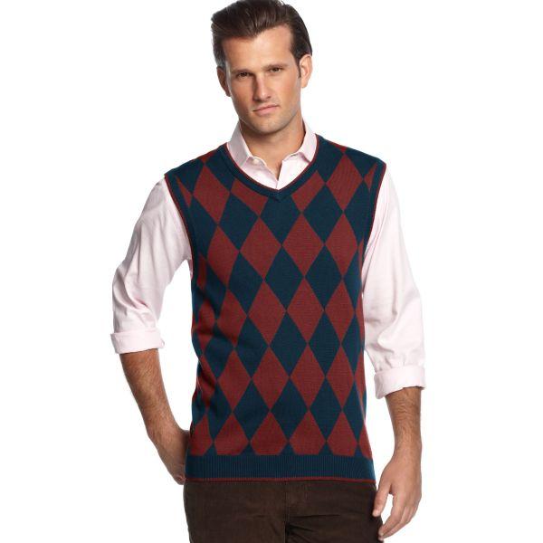 Geoffrey Beene Argyle Neck Sweater Vest In Blue Men
