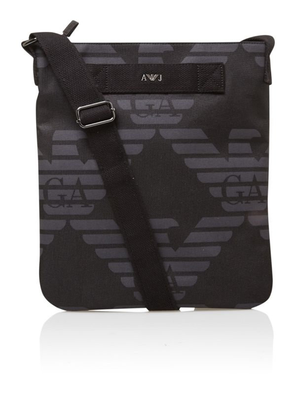 Armani Jeans Over Logo Pouch Bag In Black Men Lyst