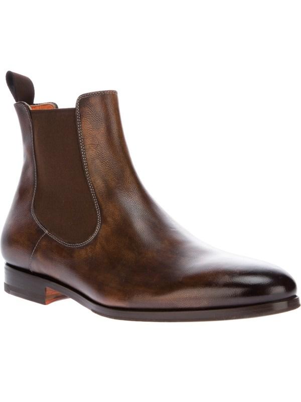 Santoni Chelsea Boot In Brown Men Lyst