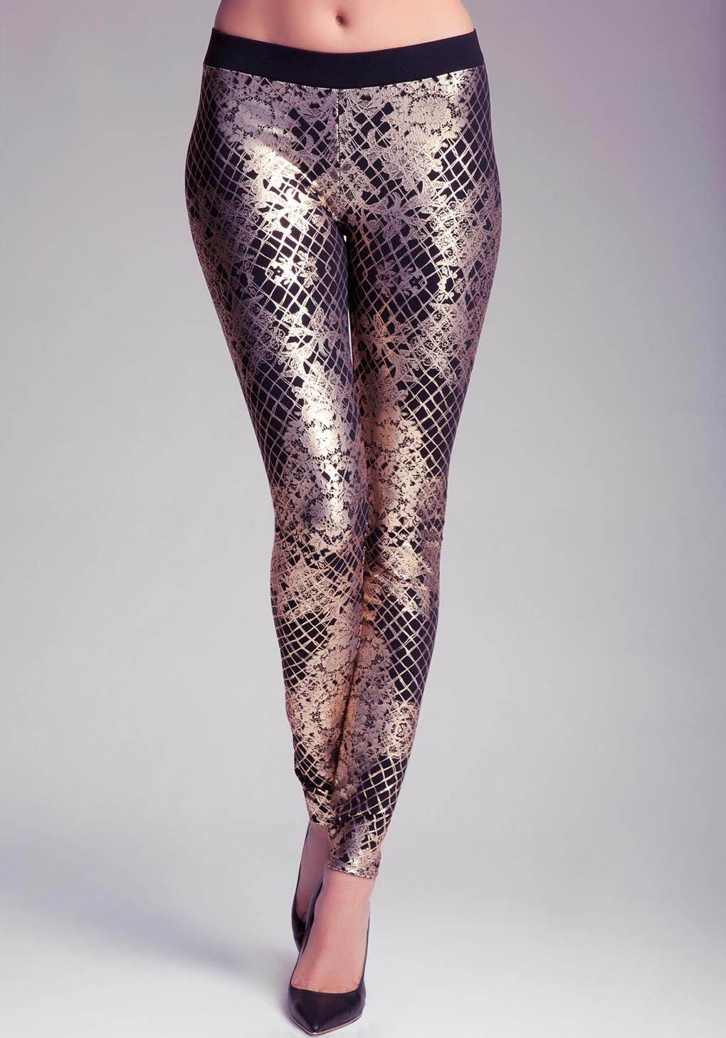 Bebe Fishnet Lace Leggings in Gold  Lyst