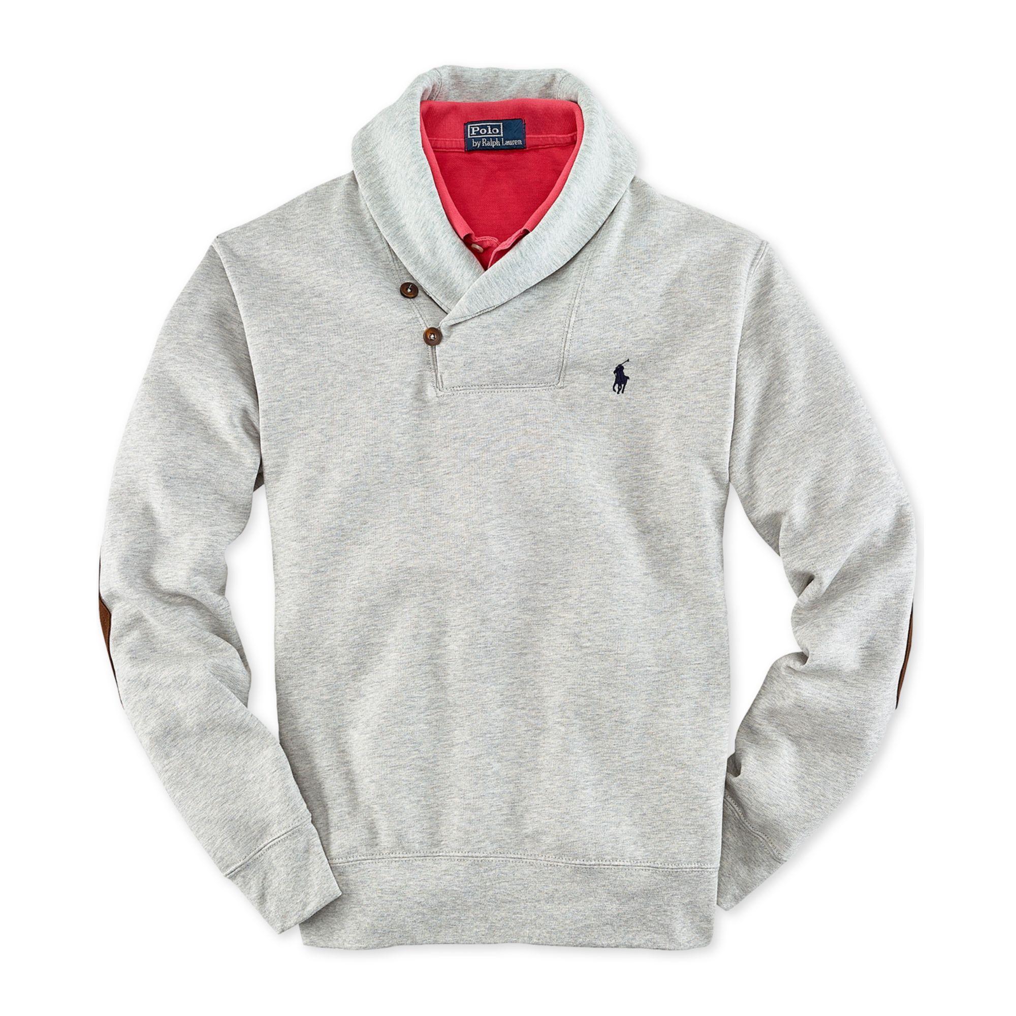 Ralph Lauren Shawl Collar Fleece Pullover in Gray for Men