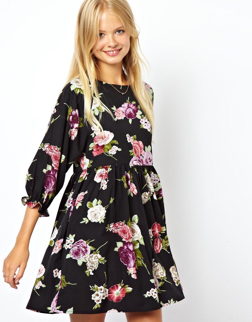 Asos Smock Dress In Blue Floral Print