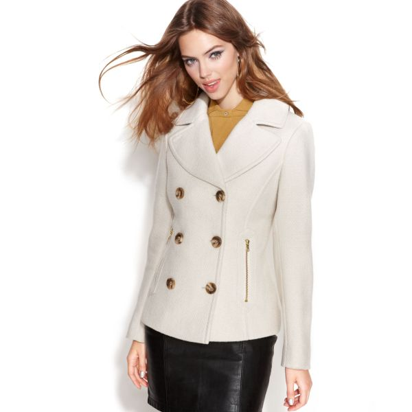 Guess Coat Double Breasted Textured Pea In White Lyst