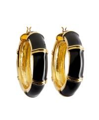 Lyst - Brooks brothers Gold And Black Medium Hoop Earrings ...