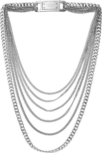 Michael Kors Multistrand Chainlink Necklace Silver Color