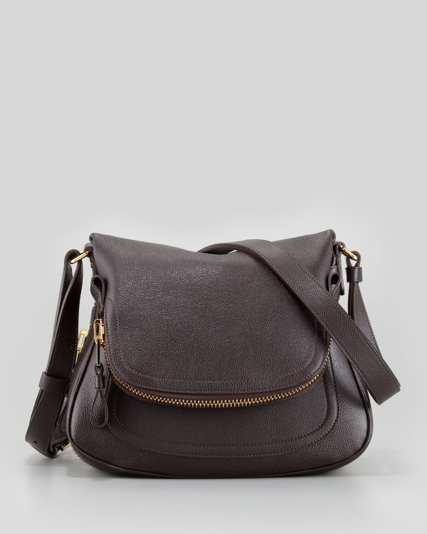 Tom Ford Jennifer Small Calfskin Crossbody Bag Brown In