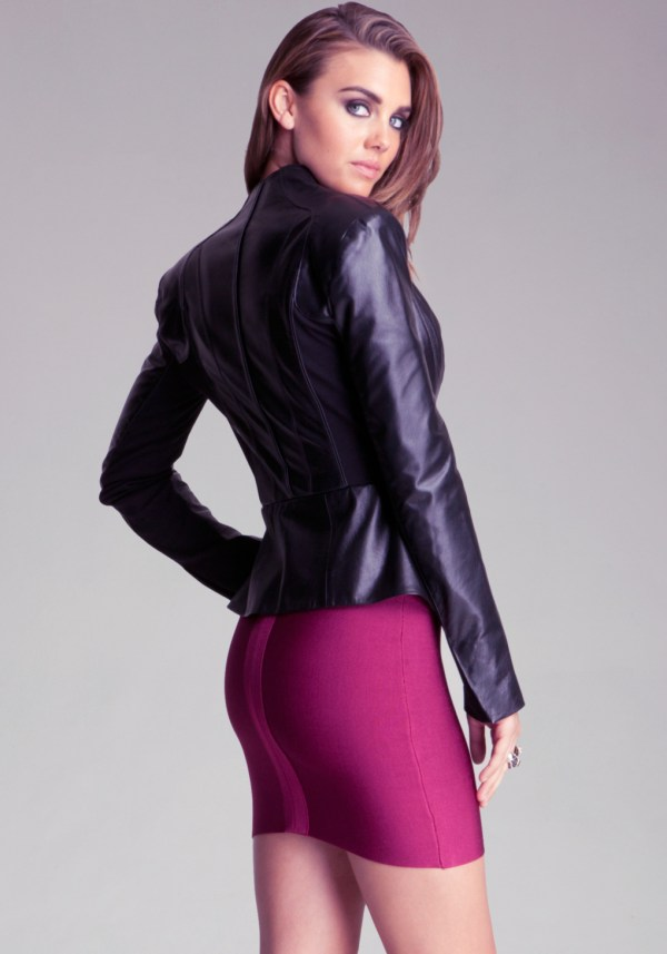 Lyst - Bebe Peplum Leather Jacket In Black