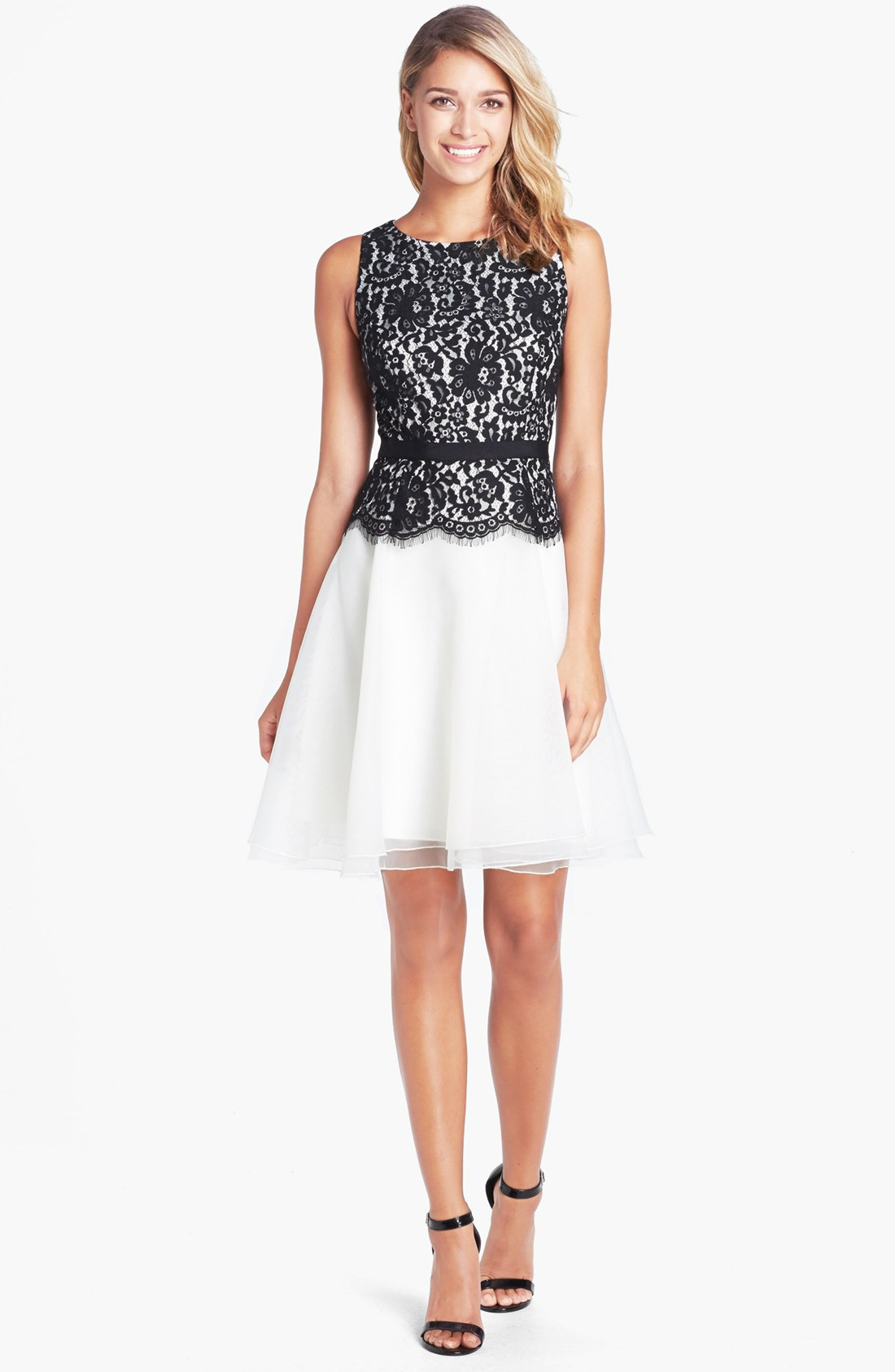 Eliza j Lace Bodice Fit Flare Dress in White Black Ivory  Lyst
