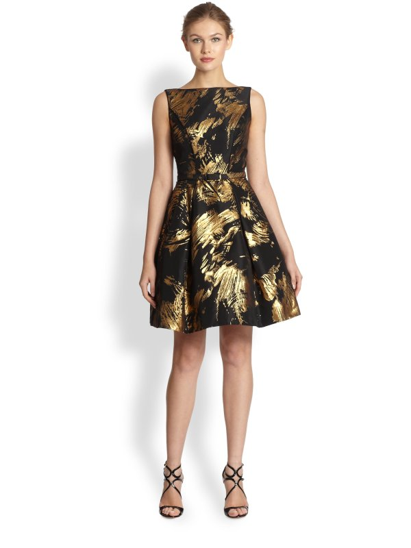 Lyst - Theia Bateau-neck Cocktail Dress In Black