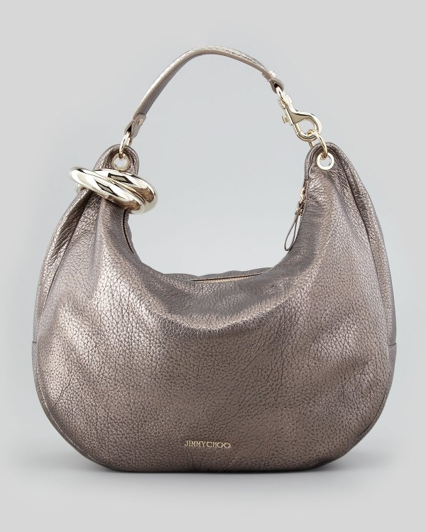 Lyst - Jimmy Choo Solar Metallic Bracelet Hobo Bag Gray In
