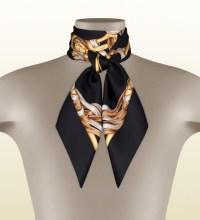 Gucci Iconic Print Silk Scarf in Metallic | Lyst