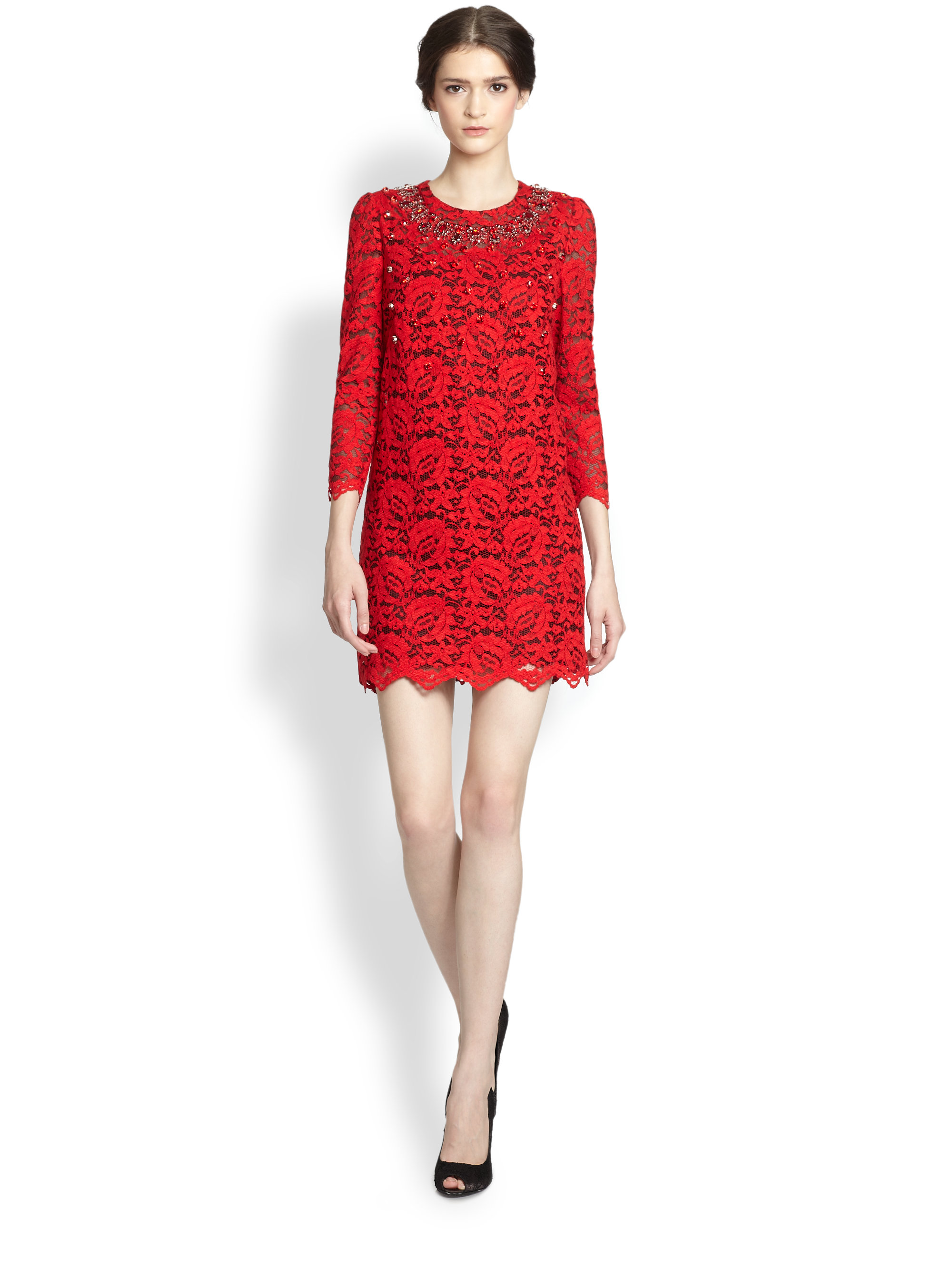Lyst Dolce Amp Gabbana Embellished Lace Dress In Red