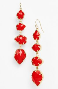 Kendra Scott Stone Drop Earrings in Red (Bright Red/ Gold