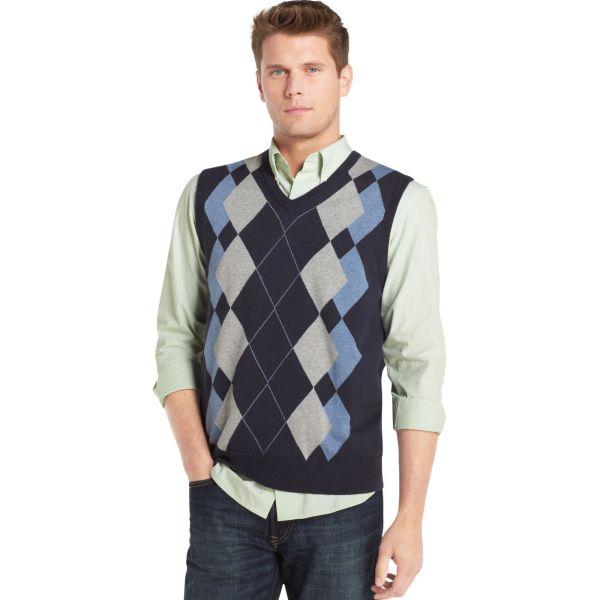 Izod Argyle Sweater Vest In Multicolor Men Midnight