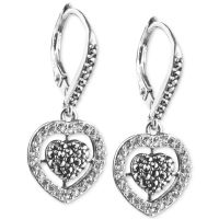 Judith Jack Sterling Silver Crystal and Marcasite Heart ...