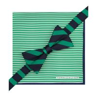Lyst - Tommy Hilfiger Green Stripe Bow Tie Pocket Square ...