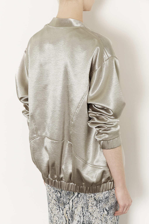 Lyst  TOPSHOP Metallic Sateen Bomber Jacket in Metallic