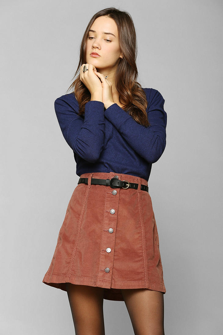 Urban Outfitters Bdg Buttonfront Corduroy A Line Skirt In