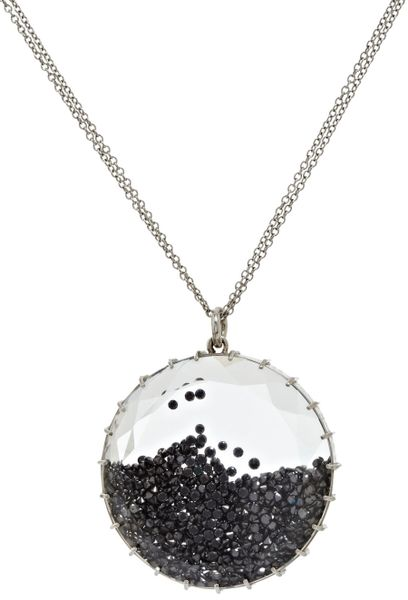 Renee Lewis White Gold Black Diamond Shake Pendant